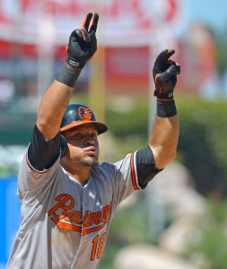 Aug 9, 2015; Anaheim, CA, USA; Baltimore Orioles left fielder Gerardo Parra (18) crosses the plate after a solo home run in the sixth inning off of Los Angeles Angels relief pitcher Cory Rasmus (not pictured) at Angel Stadium of Anaheim. Mandatory Credit: Jayne Kamin-Oncea-USA TODAY Sports