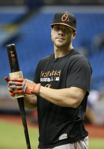 Jul 24, 2015; St. Petersburg, FL, USA; Baltimore Orioles right fielder Chris Davis (19) works out prior to the game against the Tampa Bay Rays at Tropicana Field. Mandatory Credit: Kim Klement-USA TODAY Sports