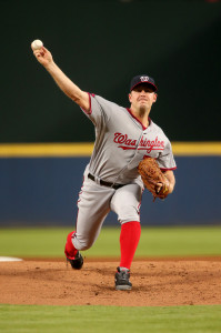 Sep 30, 2015; Atlanta, GA, USA; Washington Nationals starting pitcher Jordan Zimmermann (27) delivers a pitch to an Atlanta Braves batter in the first inning of their game at Turner Field. Mandatory Credit: Jason Getz-USA TODAY Sports