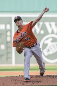 Sep 26, 2015; Boston, MA, USA; Baltimore Orioles pitcher Wei-Yin Chen (16) delivers a pitch during the first inning of the game against the Boston Red Sox at Fenway Park. Mandatory Credit: Gregory J. Fisher-USA TODAY Sports