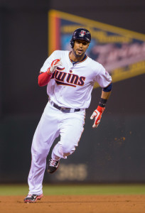 Sep 22, 2015; Minneapolis, MN, USA; Minnesota Twins center fielder Aaron Hicks (32) triples in the third inning against the Cleveland Indians at Target Field. Mandatory Credit: Brad Rempel-USA TODAY Sports