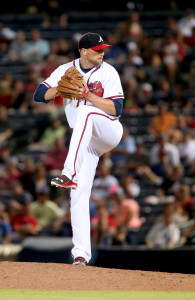 Jul 21, 2015; Atlanta, GA, USA; Atlanta Braves relief pitcher <a rel=
