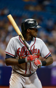 Aug 12, 2015; St. Petersburg, FL, USA; Atlanta Braves center fielder <a rel=