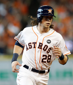 Oct 12, 2015; Houston, TX, USA; Houston Astros left fielder <a rel=