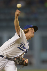 Oct 10, 2015; Los Angeles, CA, USA; Los Angeles Dodgers starting pitcher Zack Greinke (21) delivers a pitch during game two of the NLDS against the New York Mets at Dodger Stadium. Mandatory Credit: Jayne Kamin-Oncea-USA TODAY Sports