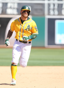 Sep 2, 2015; Oakland, CA, USA; Oakland Athletics second baseman Brett Lawrie (15) rounds the bases on a solo home run against the Los Angeles Angels during the eighth inning at O.co Coliseum. Mandatory Credit: Kelley L Cox-USA TODAY Sports