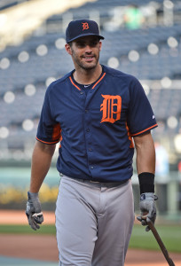 Sep 3, 2015; Kansas City, MO, USA; Detroit Tigers right fielder J.D. Martinez (28) looks on during batting practice prior to a game against the Kansas City Royals at Kauffman Stadium. Mandatory Credit: Peter G. Aiken-USA TODAY Sports