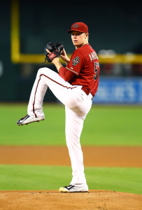 Aug 12, 2015; Phoenix, AZ, USA; Arizona Diamondbacks pitcher Chase Anderson against the Philadelphia Phillies at Chase Field. Mandatory Credit: Mark J. Rebilas-USA TODAY Sports