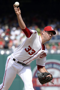 Aug 30, 2015; Washington, DC, USA; Washington Nationals pitcher Doug Fister (33) pitches during the fifth inning against the Miami Marlins at Nationals Park. Mandatory Credit: Tommy Gilligan-USA TODAY Sports