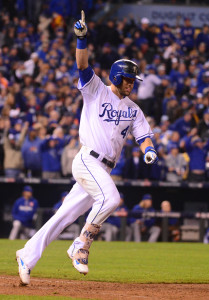 Oct 27, 2015; Kansas City, MO, USA; Kansas City Royals left fielder Alex Gordon (4) celebrates after hitting a solo home run against the New York Mets in the 9th inning in game one of the 2015 World Series at Kauffman Stadium. Mandatory Credit: Jeff Curry-USA TODAY Sports