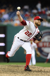 Aug 6, 2015; Washington, DC, USA; Washington Nationals relief pitcher Drew Storen (22) throws to the Arizona Diamondbacks during the eighth inning at Nationals Park. The Washington Nationals won 8 - 3. Mandatory Credit: Brad Mills-USA TODAY Sports