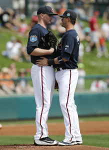 Mar 3, 2016; Lake Buena Vista, FL, USA; Atlanta Braves starting pitcher Sean Newcomb (left) talks on the mound with shortstop <a rel=