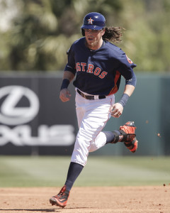 Mar 6, 2016; Kissimmee, FL, USA; Houston Astros left fielder Colby Rasmus (28) rounds second base after hitting a solo home run during the second inning of a spring training baseball game against the Toronto Blue Jays at Osceola County Stadium. Mandatory Credit: Reinhold Matay-USA TODAY Sports