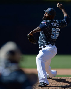 Jun 19, 2016; San Diego, CA, USA; San Diego Padres relief pitcher Fernando Rodney (56) pitches during the ninth inning against the Washington Nationals at Petco Park. Mandatory Credit: Jake Roth-USA TODAY Sports