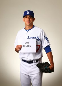 Feb 27, 2016; Glendale, AZ, USA; Los Angeles Dodgers pitcher Jose De Leon poses for a portrait during photo day at Camelback Ranch. Mandatory Credit: Mark J. Rebilas-USA TODAY Sports