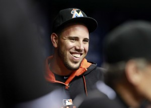 Sep 29, 2015; St. Petersburg, FL, USA; Miami Marlins pitcher Jose Fernandez (16) smiles in the dugout against the Tampa Bay Rays at Tropicana Field. Mandatory Credit: Kim Klement-USA TODAY Sports