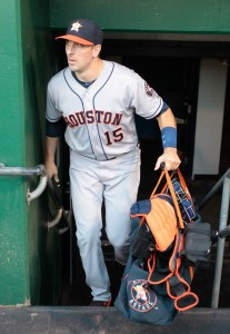 Aug 23, 2016; Pittsburgh, PA, USA; Houston Astros catcher Jason Castro (15) enters the dugout before playing the Pittsburgh Pirates at PNC Park. The Pirates won 7-1. Mandatory Credit: Charles LeClaire-USA TODAY Sports
