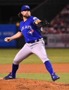 Sep 16, 2016; Anaheim, CA, USA; Toronto Blue Jays starting pitcher R.A. Dickey (43) pitches in the second inning of the game against the Los Angeles Angels at Angel Stadium of Anaheim. Mandatory Credit: Jayne Kamin-Oncea-USA TODAY Sports