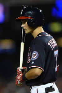 Sep 9, 2016; Washington, DC, USA; Washington Nationals second baseman Trea Turner (7) stands in the batters box during the eighth inning against the Philadelphia Phillies at Nationals Park. Washington Nationals defeated Philadelphia Phillies 5-4. Mandatory Credit: Tommy Gilligan-USA TODAY Sports