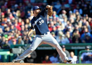Apr 6, 2014; Boston, MA, USA; Milwaukee Brewers relief pitcher Tyler Thornburg (30) pitches during the eighth inning against the Boston Red Sox at Fenway Park. Mandatory Credit: Bob DeChiara-USA TODAY Sports
